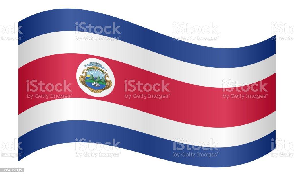 Bandera de Costa Rica ondeando en fondo blanco - ilustración de arte vectorial