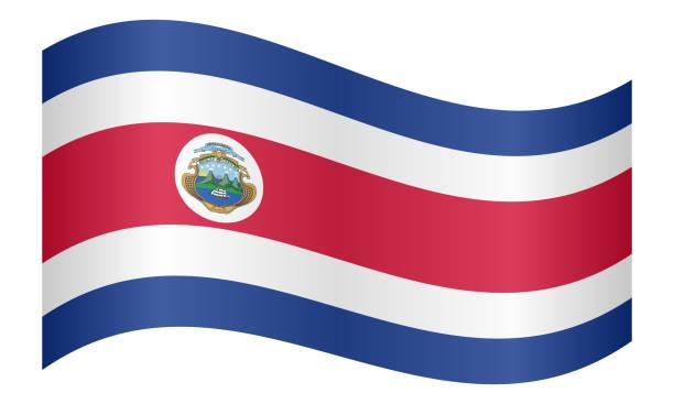 Flagge von Costa Rica winken auf weißer Hintergrund – Vektorgrafik