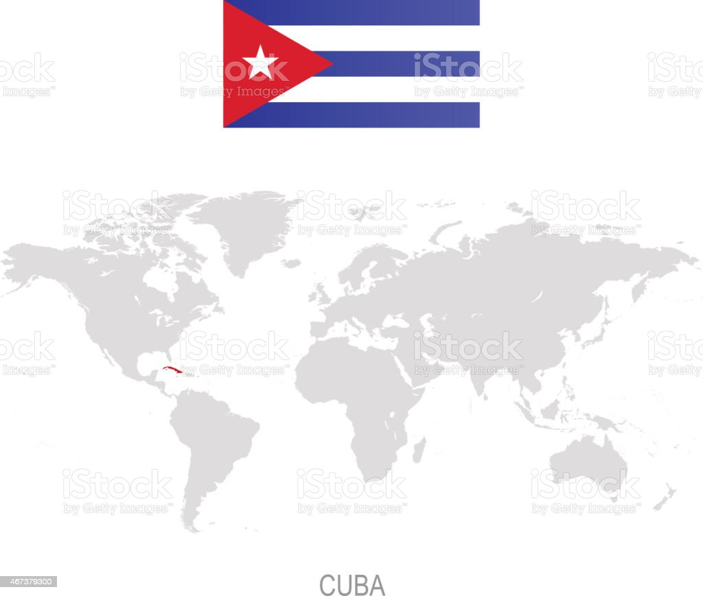 Flag Of Cuba And Designation On World Map Stock Illustration - Download  Image Now
