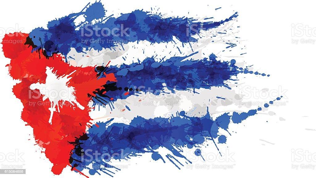 Flag of Cuba made of colorful splashes - ilustración de arte vectorial