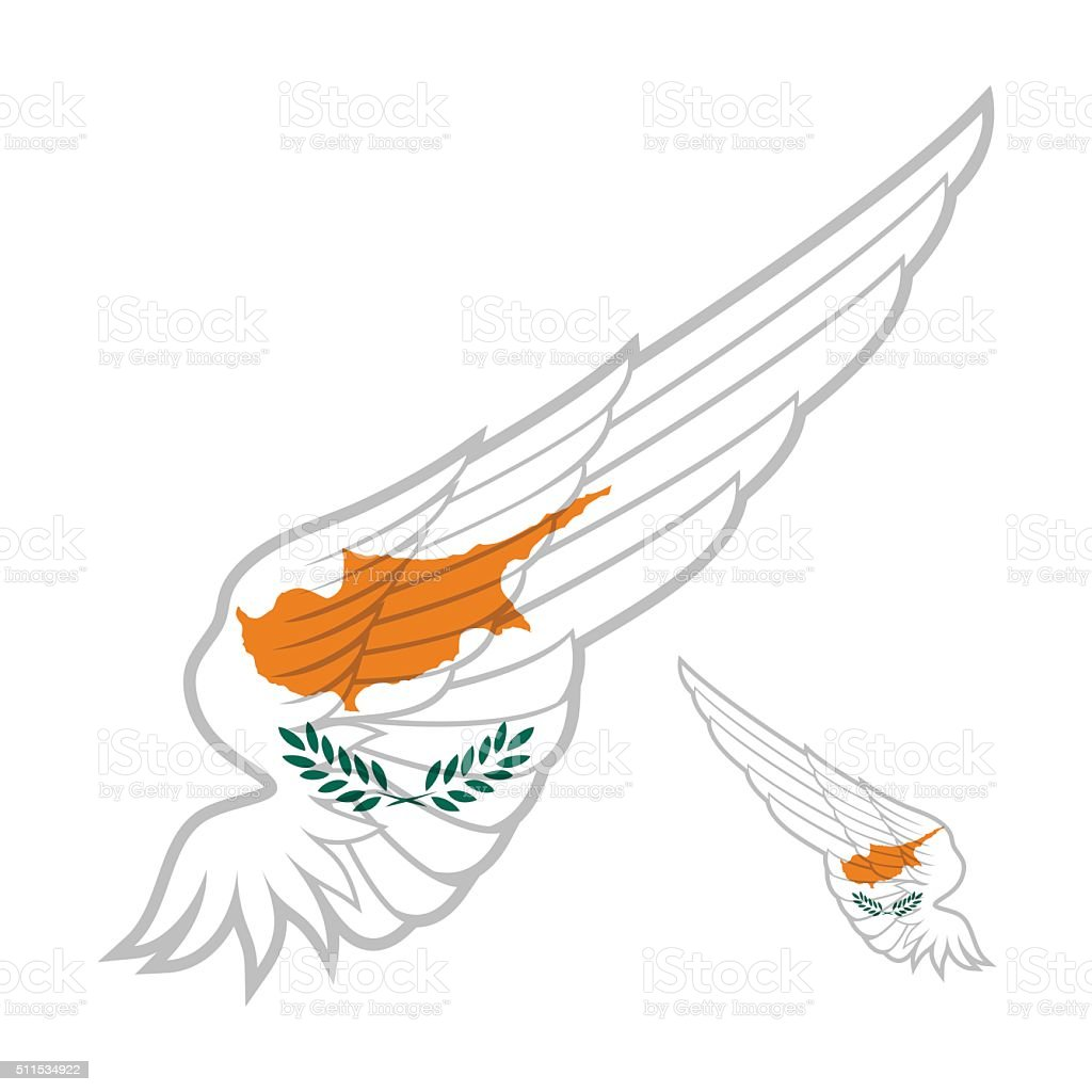 flag of Cyprus on abstract Wing and white background. Vector vector art illustration