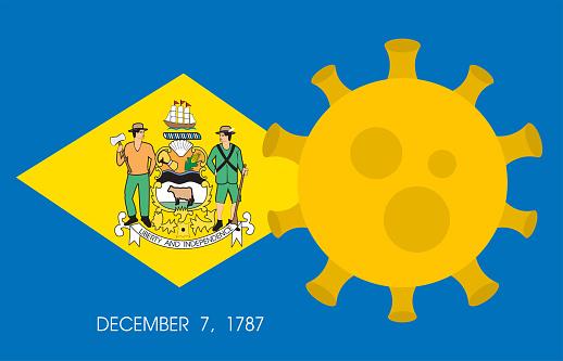 Flag of Delaware State With Outbreak Viruses. Novel Coronavirus Disease COVID-19.