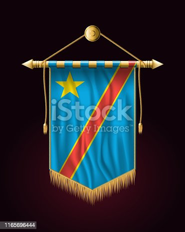 Flag of Democratic Republic of the Congo. Festive Vertical Banner. Wall Hangings with Gold Tassel Fringing