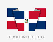 Flag of Dominican Republic. Flat Icon Wavering Flag with Country
