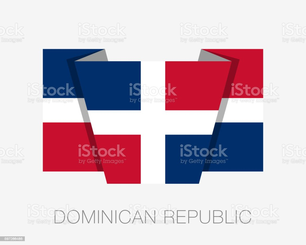 Flag of Dominican Republic. Flat Icon Wavering Flag with Country Lizenzfreies flag of dominican republic flat icon wavering flag with country stock vektor art und mehr bilder von abzeichen