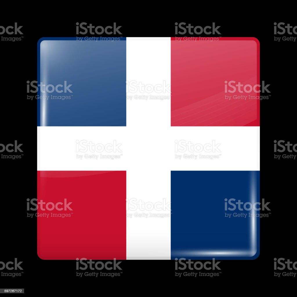 Flag of Dominican Republic. Glossy Icon Square Shape Lizenzfreies flag of dominican republic glossy icon square shape stock vektor art und mehr bilder von abzeichen