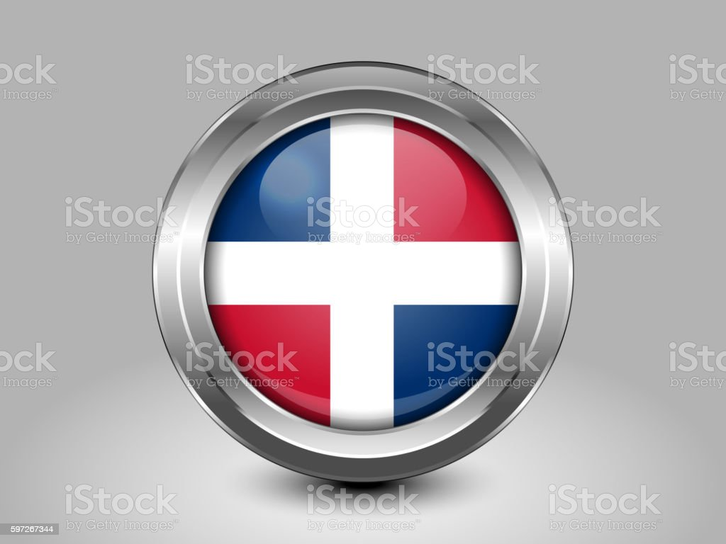 Flag of Dominican Republic. Metal and Glass Round Icon royalty-free flag of dominican republic metal and glass round icon stock vector art & more images of backgrounds