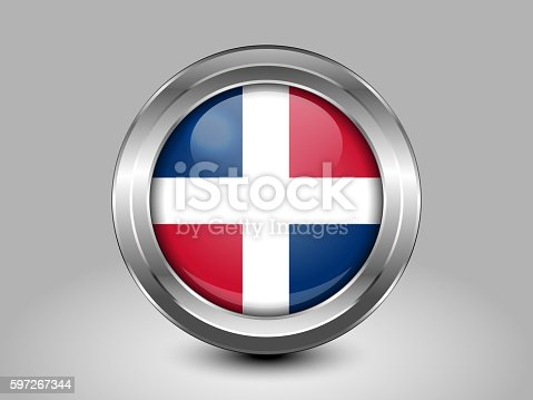 Flag Of Dominican Republic Metal And Glass Round Icon Stock Vektor Art und mehr Bilder von Abzeichen 597267344