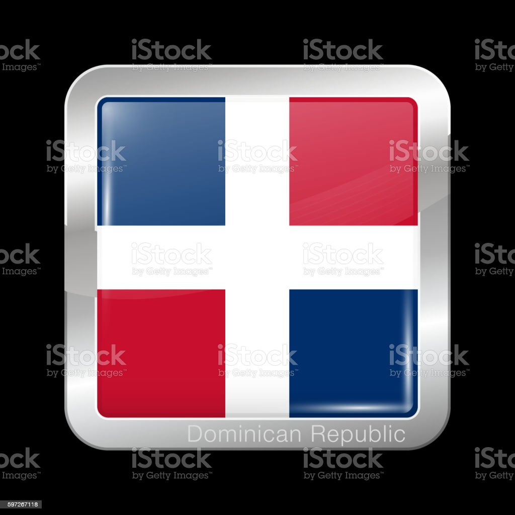 Flag of Dominican Republic. Metal Icon Square Shape royalty-free flag of dominican republic metal icon square shape stock vector art & more images of backgrounds