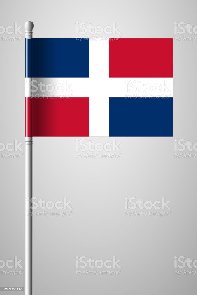 Flag of Dominican Republic. National Flag on Flagpole Lizenzfreies flag of dominican republic national flag on flagpole stock vektor art und mehr bilder von abzeichen
