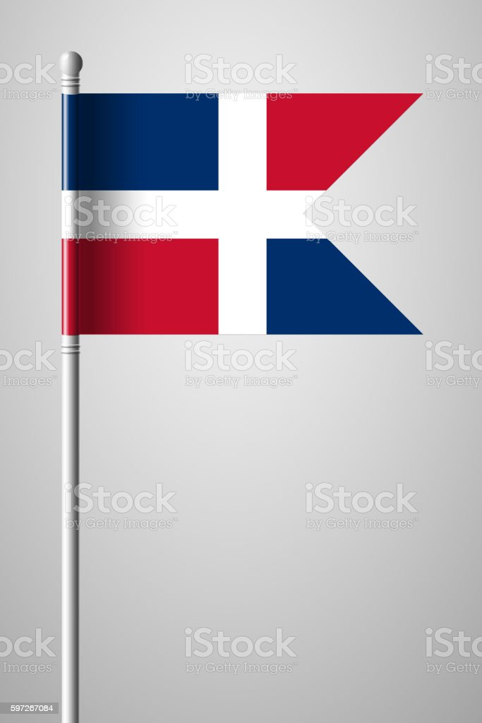 Flag of Dominican Republic. National Flag on Flagpole royalty-free flag of dominican republic national flag on flagpole stock vector art & more images of backgrounds