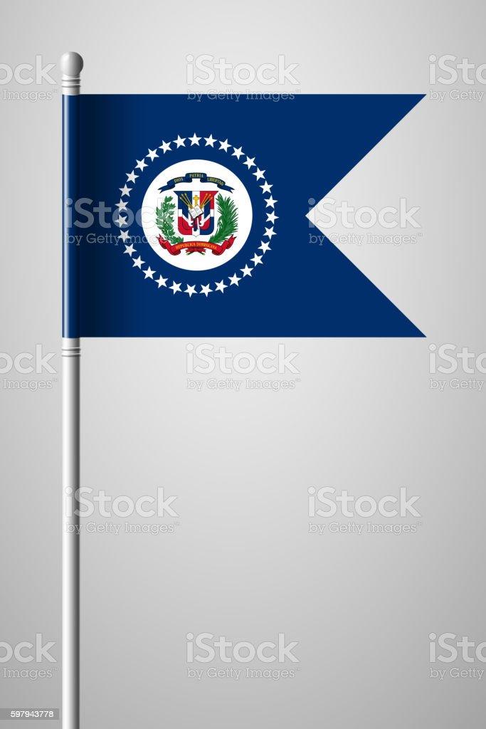 Flag of Dominican Republic. National Flag on Flagpole ilustração de flag of dominican republic national flag on flagpole e mais banco de imagens de américa latina royalty-free