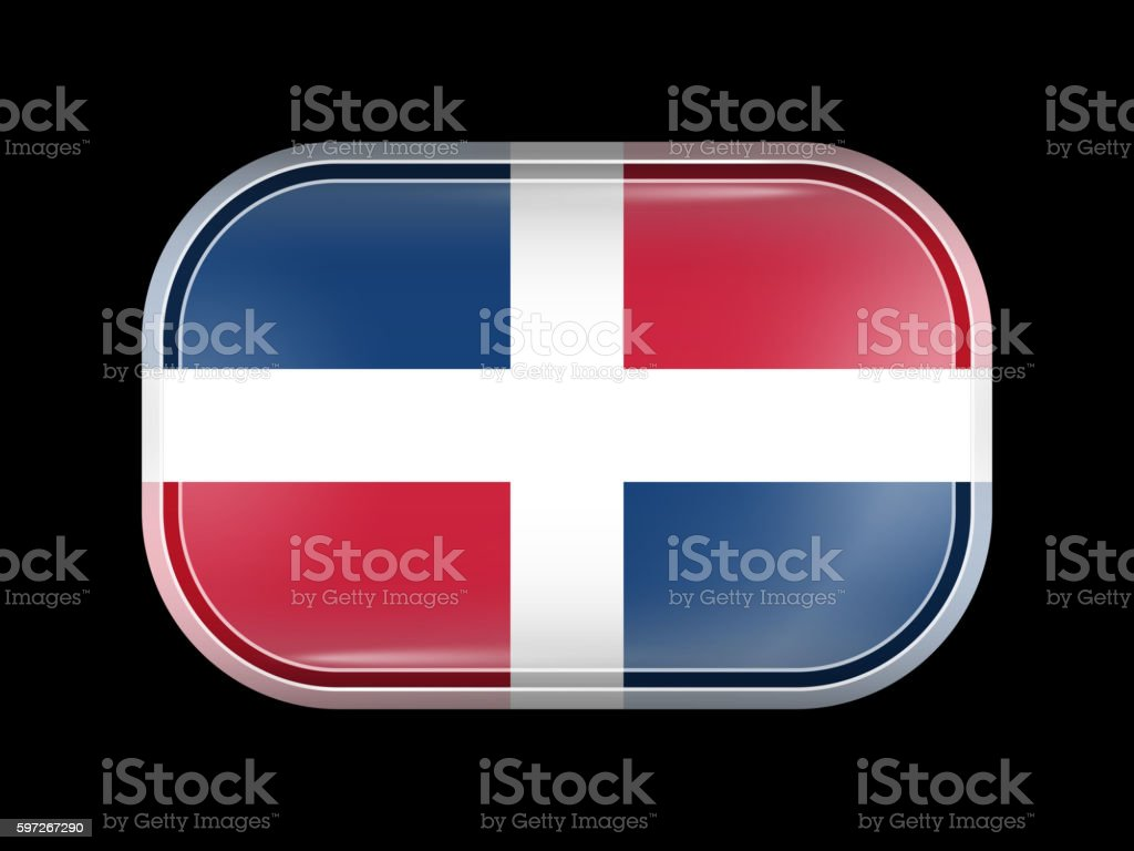 Flag of Dominican Republic. Rectangular Shape with Rounded Corne flag of dominican republic rectangular shape with rounded corne – cliparts vectoriels et plus d'images de amérique du nord libre de droits