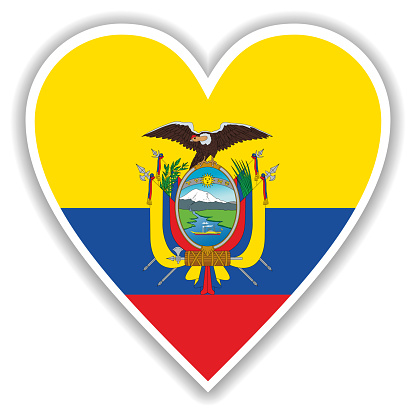 Flag of Ecuador in heart with shadow and white outline