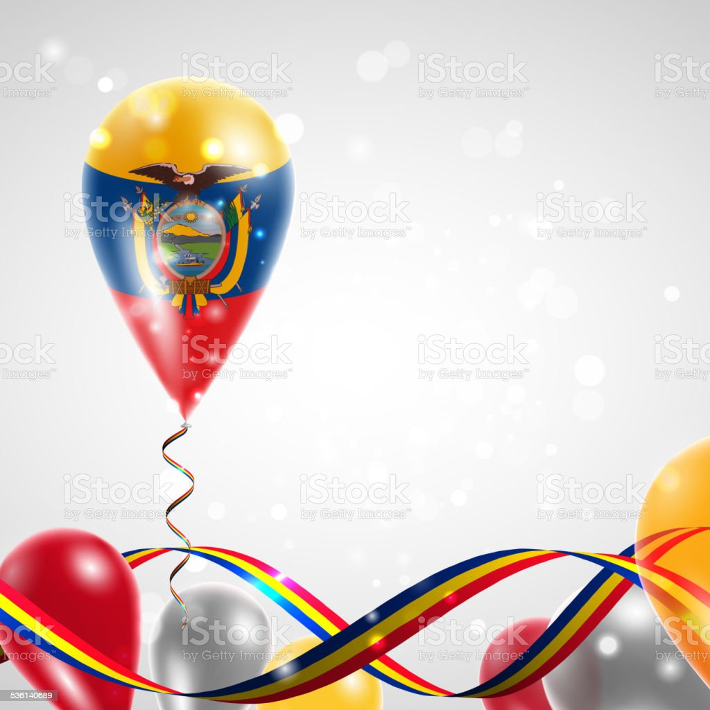 Bandeira do Equador em balão - ilustração de arte em vetor