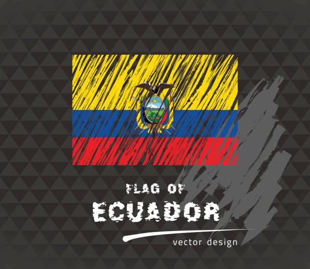 flagge ecuadors, stift vektorgrafik auf schwarzem hintergrund - flagge ecuador stock-grafiken, -clipart, -cartoons und -symbole