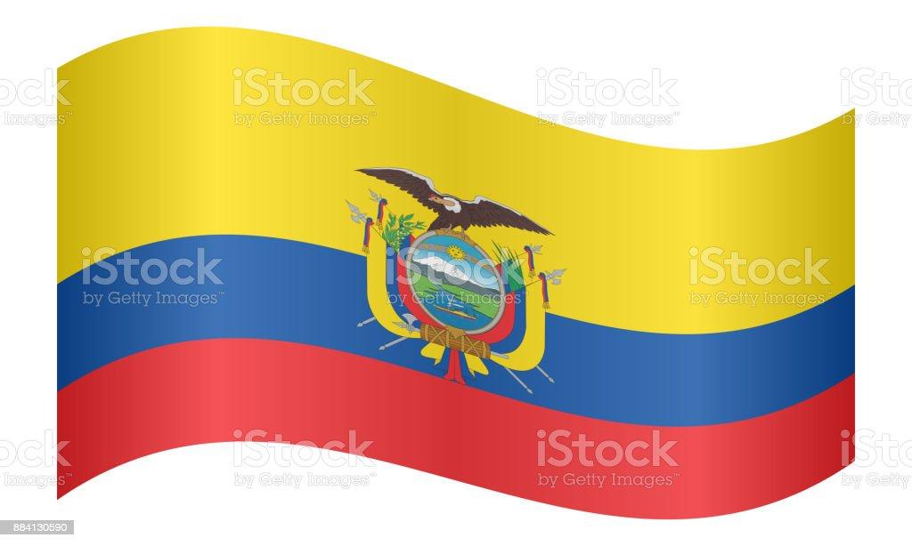 Bandeira do Equador acenando em fundo branco - ilustração de arte em vetor