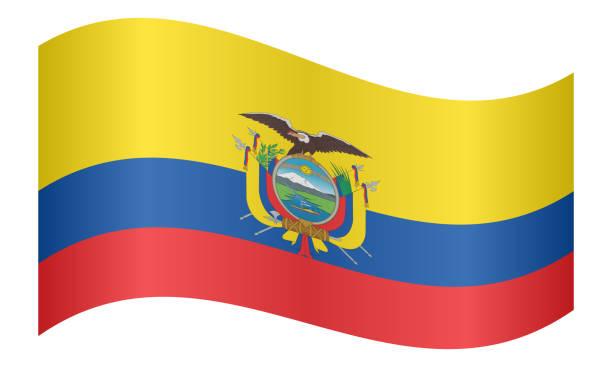 白い背景に手を振るエクアドルの国旗 ベクターアートイラスト
