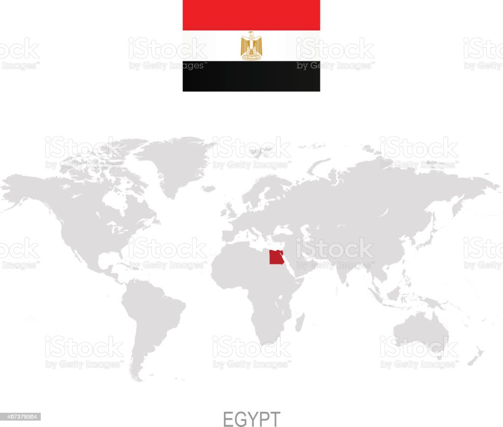 Flag Of Egypt And Designation On World Map Stock Vector Art More