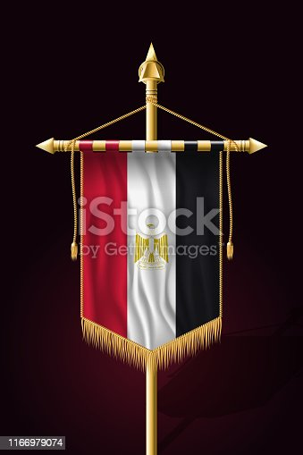 Flag of Egypt. Festive Vertical Banner. Wall Hangings with Gold Tassel Fringing
