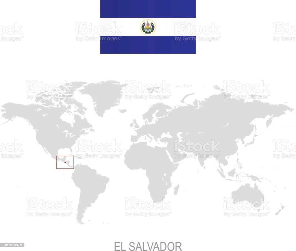 Flag Of El Salvador And Designation On World Map stock vector art