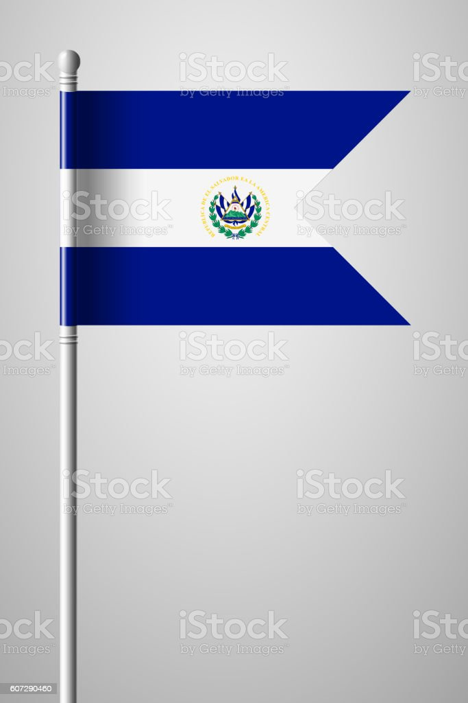 Flag Of El Salvador National Flag On Flagpole Stock Vector Art