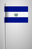 Flag of El Salvador. National Flag on Flagpole. Isolated Illustration on Gray Background