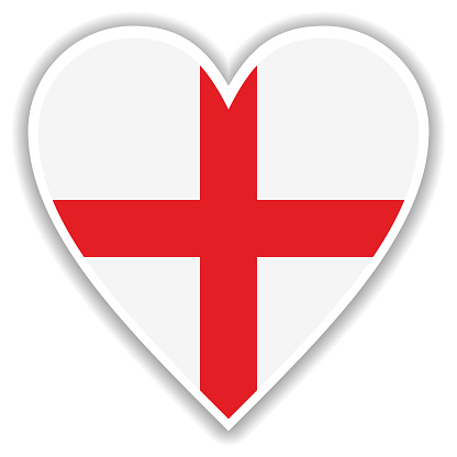 Flag of England in heart with shadow and white outline