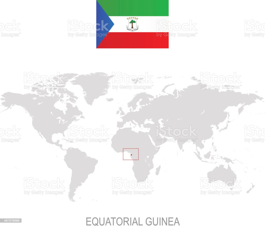 Flag Of Equatorial Guinea And Designation On World Map Stock ... Equatorial Guinea On World Map on equatorial guinea africa, ghana world map, cape verde world map, equatorial guinea on map south america, malabo map, equator location on map, heremakono on the location of guinea africa map, tunisia world map,