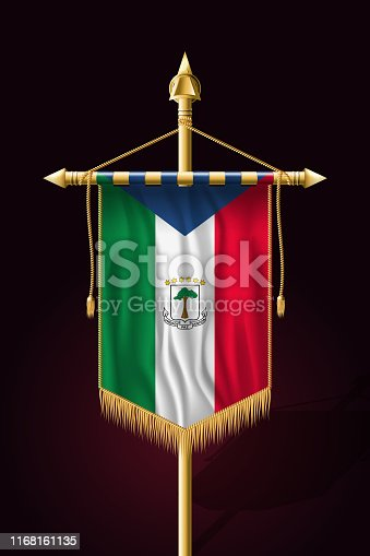 Flag of Equatorial Guinea. Festive Vertical Banner. Wall Hangings with Gold Tassel Fringing