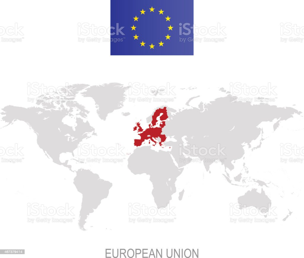 Flag of european union and designation on world map stock vector flag of european union and designation on world map royalty free flag of european union gumiabroncs Images