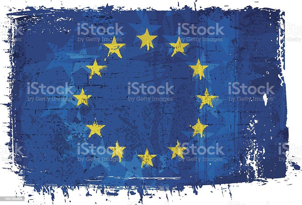 Flag of European Union on Wall vector art illustration