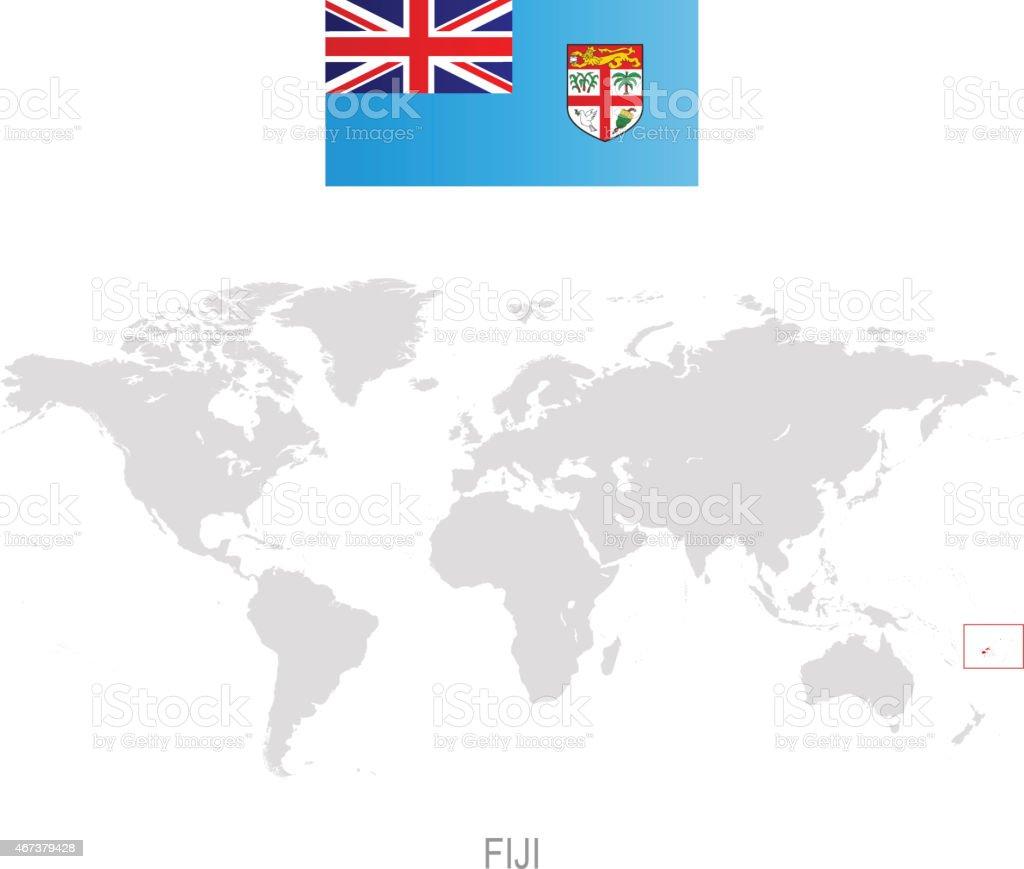Carte Australie Et Iles Fidji.Drapeau Des Iles Fidji Et De Designation Sur La Carte Du Monde