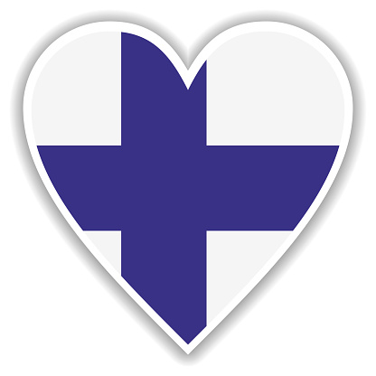Flag of Finland in heart with shadow and white outline