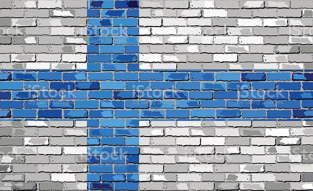 Flag of Finland on a brick wall vector art illustration