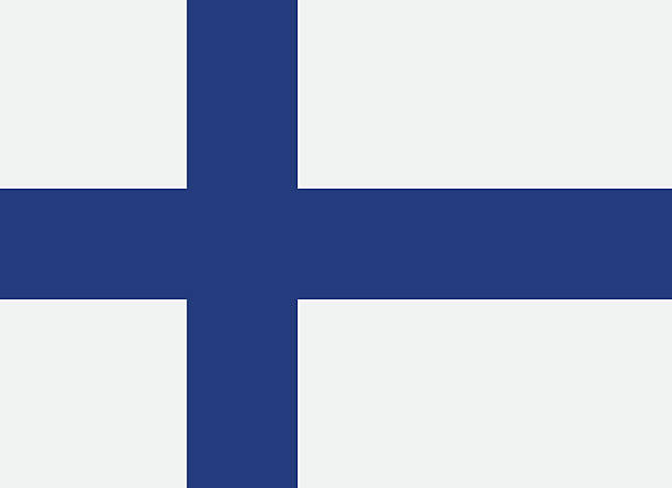 a flag of finland with a blue cross - finnish flag stock illustrations, clip art, cartoons, & icons