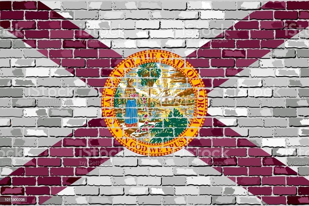 Flag of Florida on a brick wall - ilustração de arte vetorial