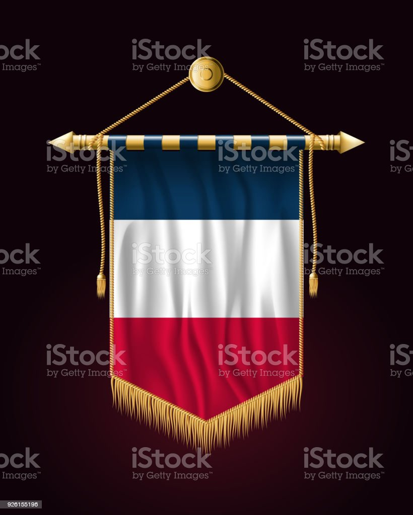Flag of France. Festive Vertical Banner. Wall Hangings with Gold Tassel Fringing vector art illustration