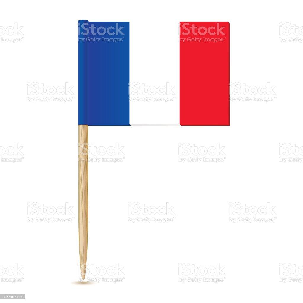 Flag of France. Flag toothpick 10eps - ilustración de arte vectorial