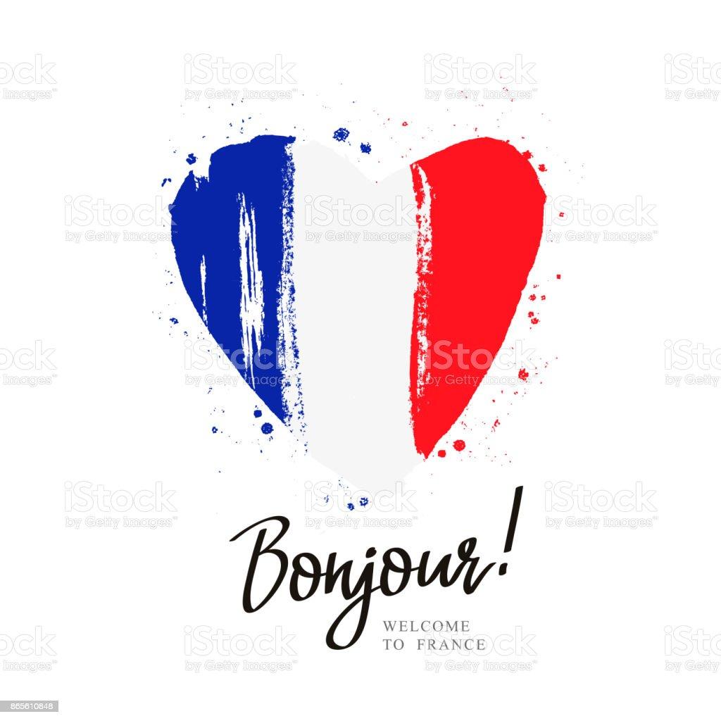 Bandera de Francia en la forma de un gran corazón - ilustración de arte vectorial