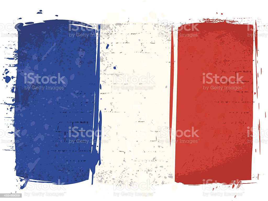Flag of France on Wall vector art illustration
