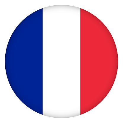 Flag Of France Round Icon Badge Or Button French National Symbol Template  Design Vector Illustration Stock Illustration - Download Image Now - iStock