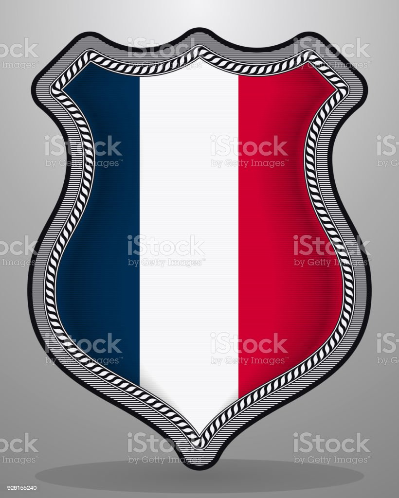 Flag Of France Vector Badge And Icon With Central Glossy National
