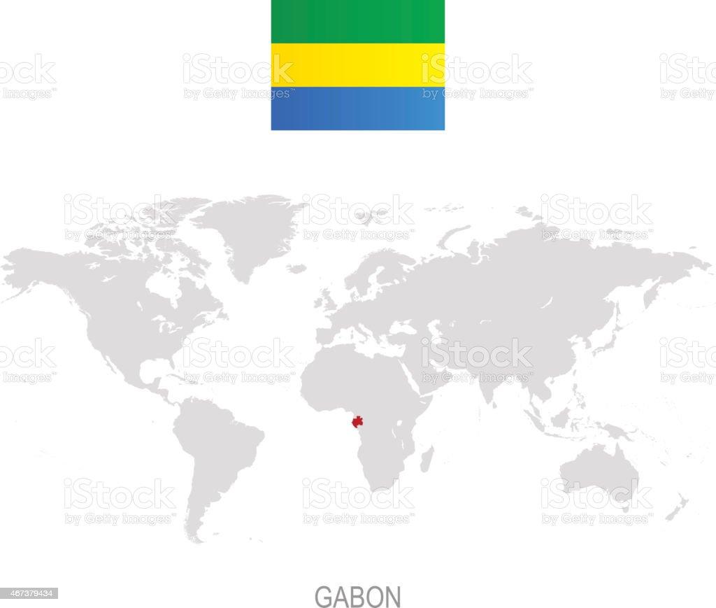 Flag Of Gabon And Designation On World Map Stock Vector Art - Where is gabon on the world map