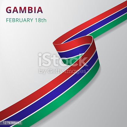 Flag of Gambia. 18th of February. Vector illustration. Wavy ribbon on gray background. Independence day. National symbol. Graphic design template