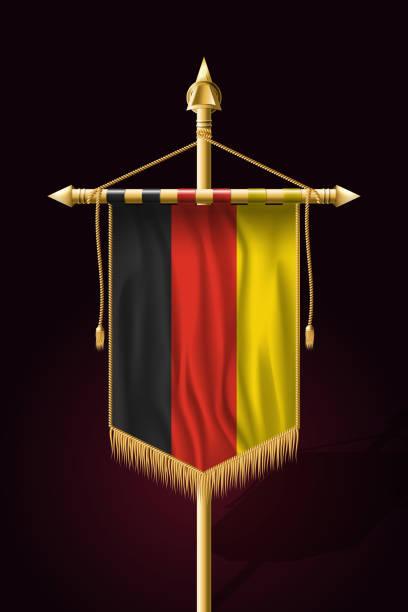 ilustrações de stock, clip art, desenhos animados e ícones de flag of germany. festive vertical banner. wall hangings with gold tassel fringing - berlin wall