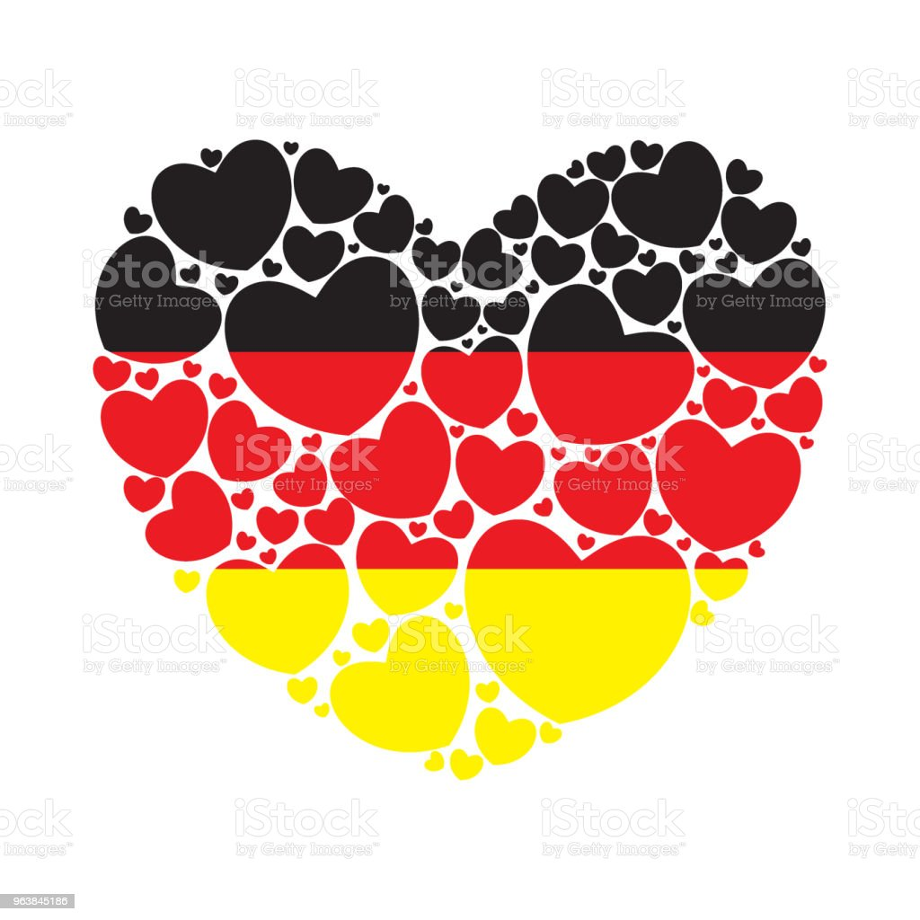 Flag of Germany in a heart shape - Royalty-free Abstract stock vector