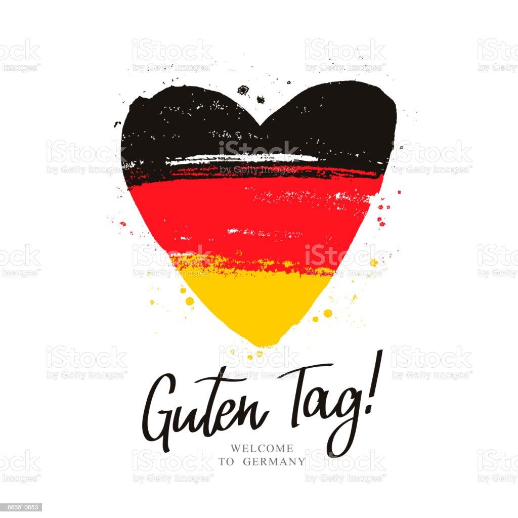 Flagge von Deutschland in Form von einem großen Herzen. – Vektorgrafik