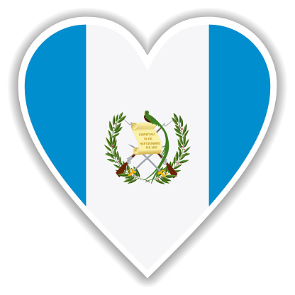Flag of Guatemala in heart with shadow and white outline