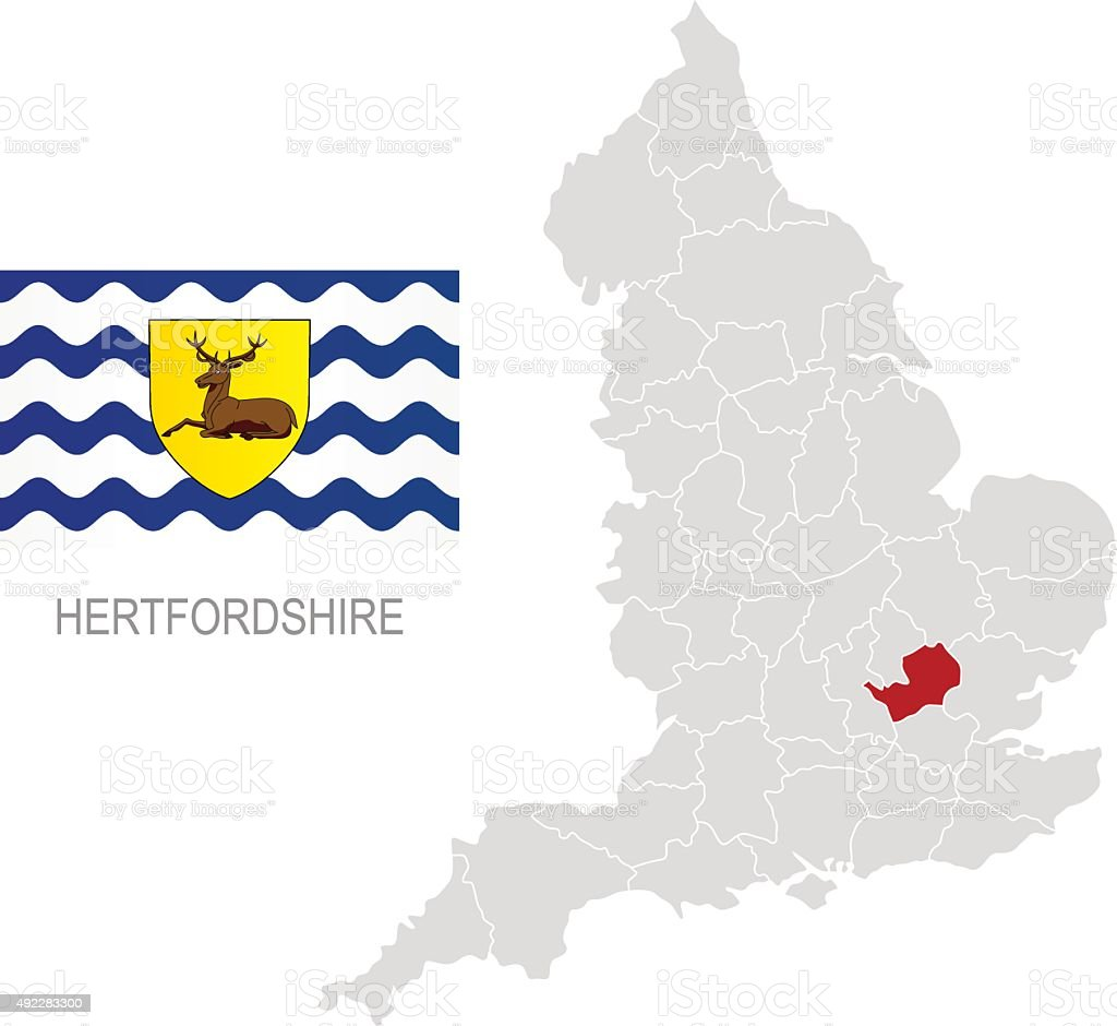 Flag of Hertfordshire and location on England map vector art illustration